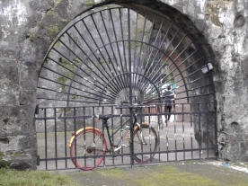 A bike is a great way to see Old Manila. This photo was taken inside the Fort of Santiago.
