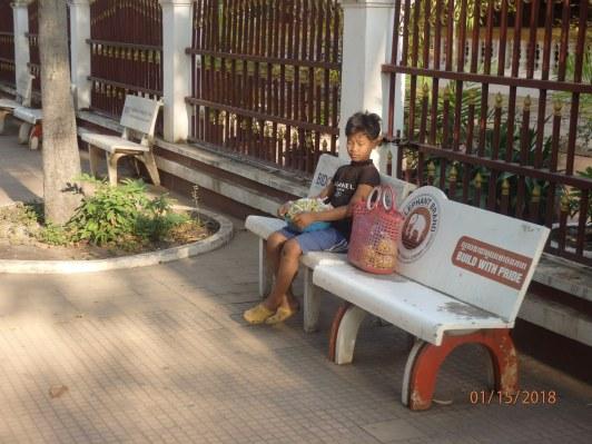 A boy waits for a bus.